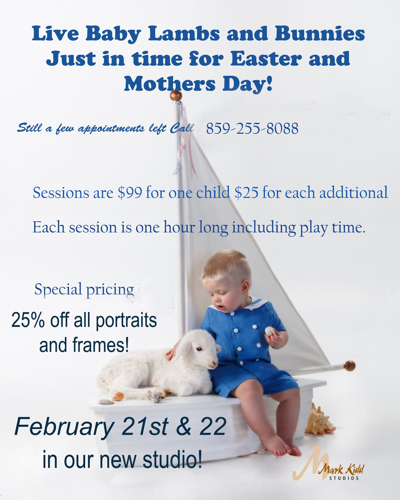 Spring Special at Mark Kidd Studios with little boy on a sail boat and with a white lamb